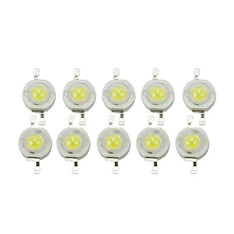 10pcs 3W Diodos Emisores de Luz LED Beads de Lámpara Blanco Frío 6000K-6500K