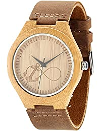 WONBEE Bamboo Wooden Watches Infinity Anchor Design with...