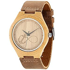 WONBEE Relojes de Madera de bambú Infinito Anchor Design con Correa de Piel de Vaca Unisex