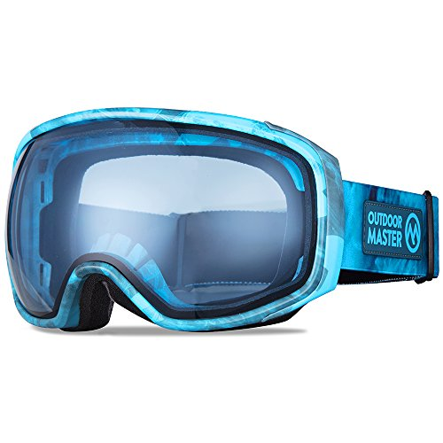 OutdoorMaster Ski Goggles PRO X - Ski & Snowboard Goggles with TruVis 2X Anti-Fog Lens - for Men, Women & Youth - Helmet Compatible (Blue Smoke + Light Blue Lens - Blue Light Lenses