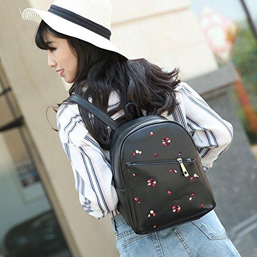 Domybest - Bolso mochila  para mujer Black With Embroidery Black With Embroidery