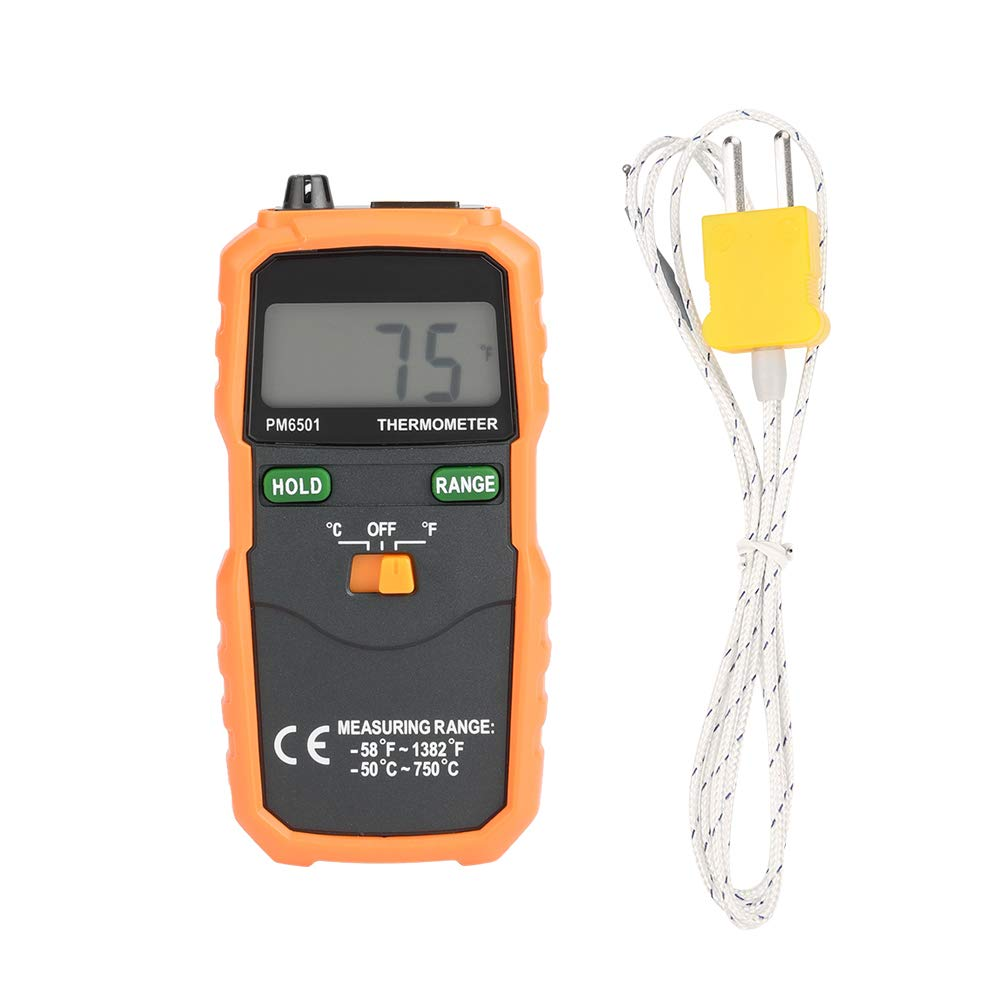 LCD Thermometer, Thermometer PEAKMETER PM6501 LCD Display Contact Type Digital Thermometer with K Type Temperature Probe