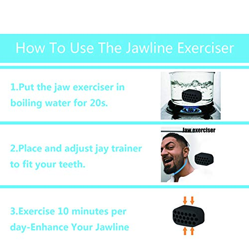 Jawline Exerciser Jaw, Jawzr Facial Exerciser Chewing Exerciser, Help Reduce Stress and Cravings, Facial Care, Double Chin Jaw Exerciser Bpa Free (Gray+Black-2PC)
