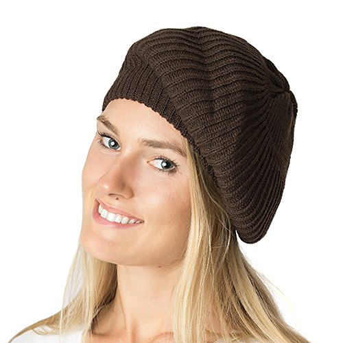 (an - Womens Fall Winter Ribbed Knit Beret Double Layers (Brown))