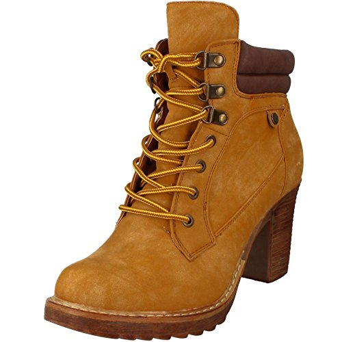 FANTASIA BOUTIQUE ® Ladies Lace Up Front Suede Smart High Block Cleated Heel Shoes Ankle Boots Honey 4G52tW