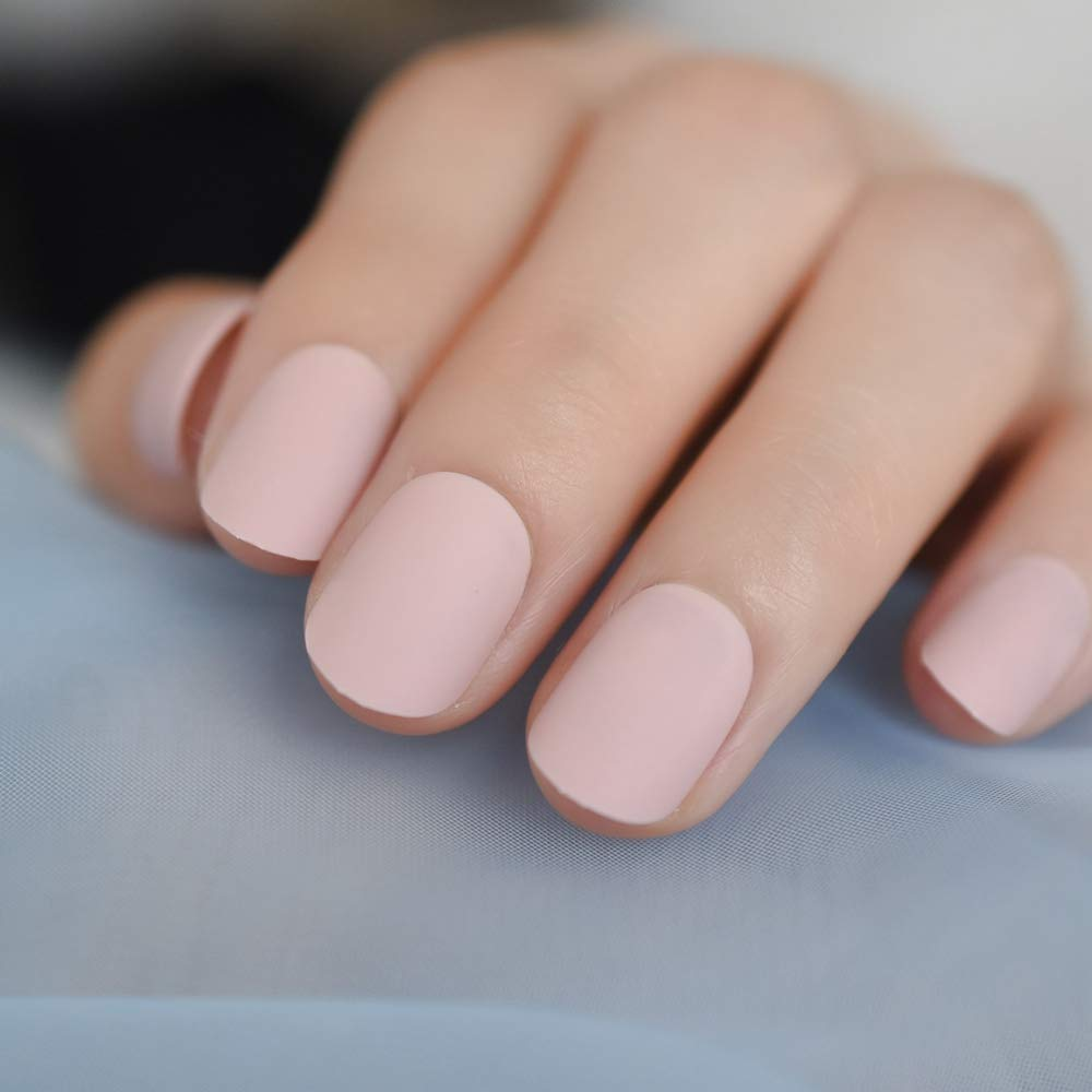 Amazon.com: CoolNail Nude rosa mate 24 piezas corto Frosted ...