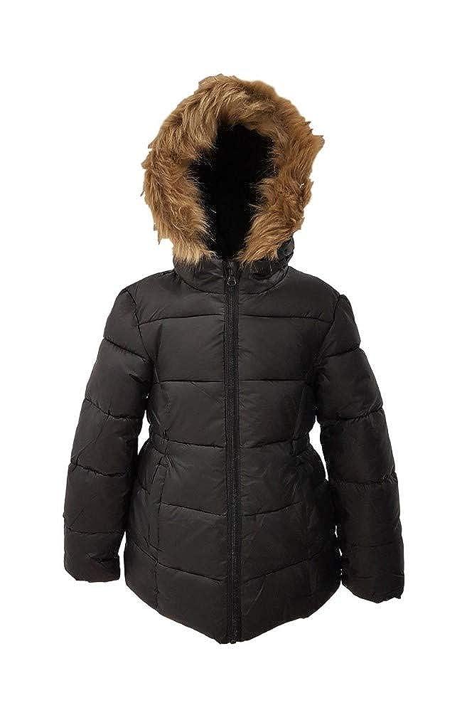 Ex Primark Girls Winter Coat Jacket Hooded School Fleece Warm Quilted Kids Black Faux Fur
