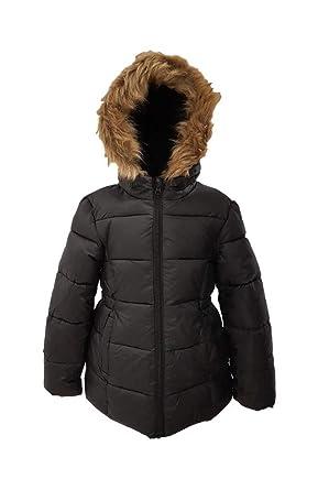 d008bf05c9ff2 Ex Primark Girls Winter Coat Jacket Hooded School Fleece Warm Quilted Kids  Black Faux Fur  Amazon.co.uk  Clothing