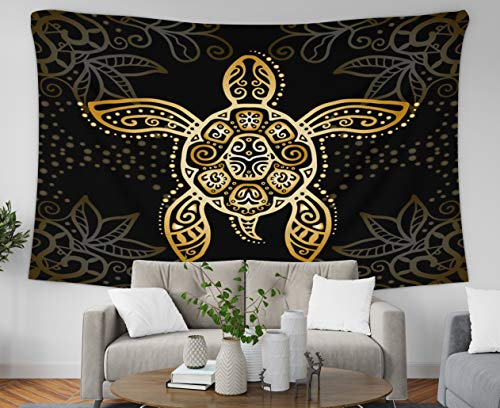 - Asdecmoly Easter Printing Psychedelic Tapestry Wall Hanging Tapestries for Living Room and Bedroom 60 Lx60 W Inches Graphic Turtle Tattoo Style Tribal Totem Animal Isolated Art Printing Inhouse