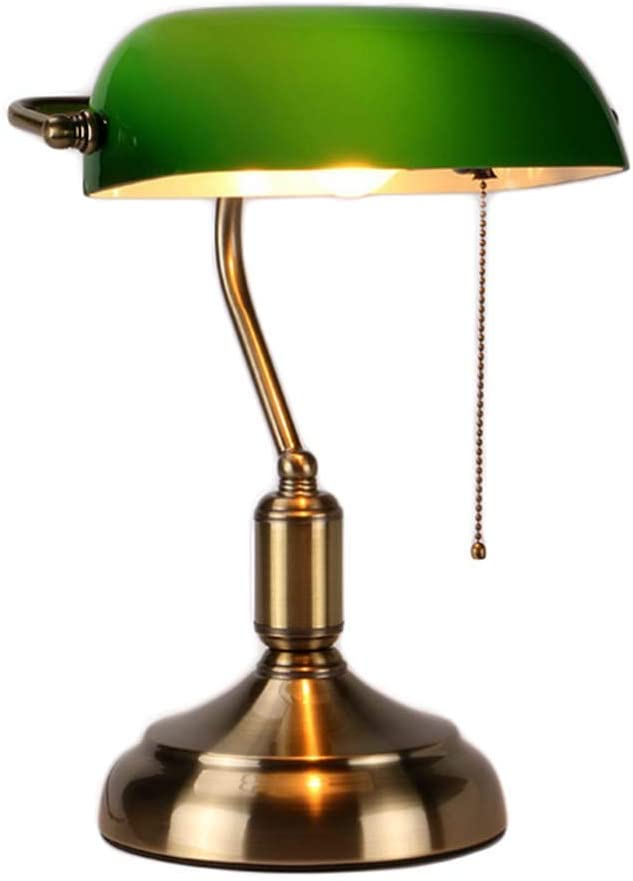 MZStech Lámpara de escritorio/Lámpara de banquero/Lámpara de oficina Pantalla de vidrio blanco, interruptor de extracción y bombilla de filamento LED 4w (Verde, base de latón)
