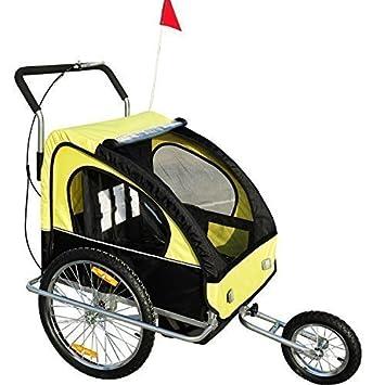 Remolque para Niños DOS PLAZAS con Amortiguadores Carro para Bicicleta CON BARRA INCLUIDA y Kit de Footing COLOR AMARILLO Y NEGRO… HomCom 5664-0086ybn