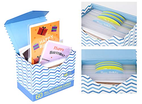 [UPGRADED] 60 Pack Assorted All Occasion Greeting Cards - 60 UNIQUE DESIGN,  BIG 5x7
