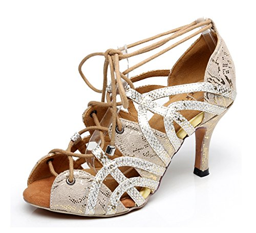 MINITOO Sandals Gold Sole Synthetic 6 Salsa UK Rubber Party Dancing Latin Toe Soft Ladies Shoes Peep Ora4Ow