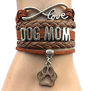 Dog Mom Bracelet Braided Leather Wrap