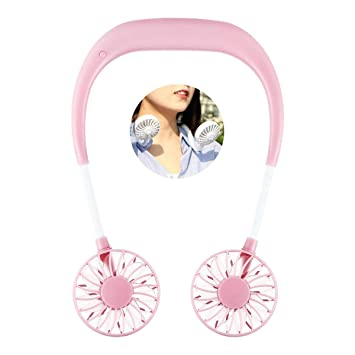 Adjustable Neckband Fan Lesgos Hand Free Personal Neck Double Fans Headphone Design Wearable Portable Neckband Mini Fan with USB Rechargeable for Outdoor Indoor