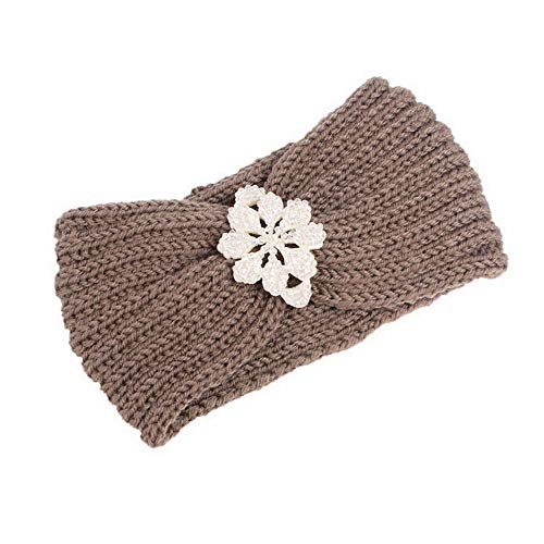 MOPOLIS Women Winter Warm Crochet Stretchy Knitting Headband Handmade Hairband Headwraps | Colors - Khaki
