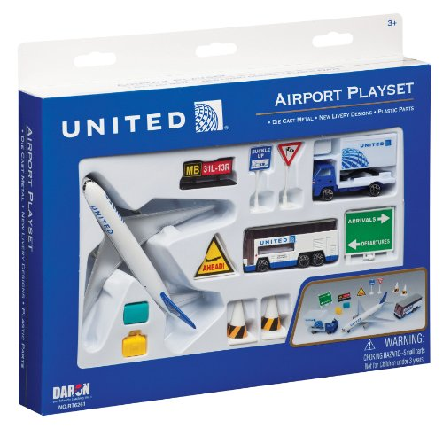 Daron United Airlines Airport Playset - Commercial Jet Aircraft