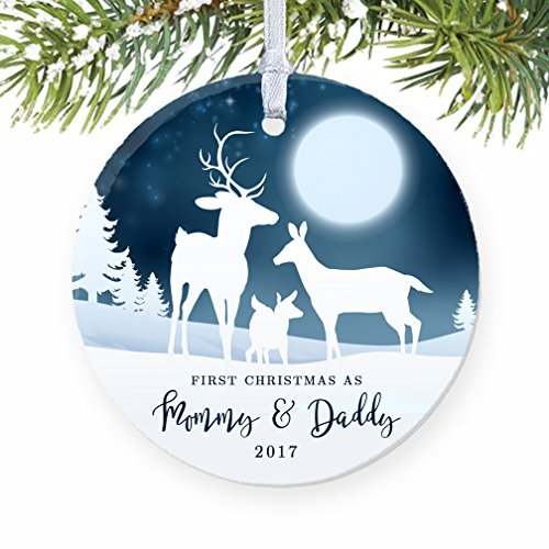 1st Christmas as Mommy  Daddy 2017, New Parents Ornament, Deer Family Porcelain Ornament, 3 Flat Circle Christmas Ornament with Glossy Glaze, White …