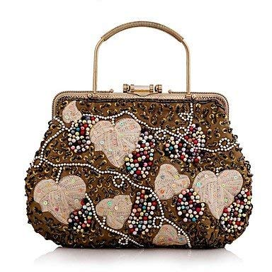 Bronze Wetietir Clutch Bag Women Bags Polyester Evening Bag Embroidery Lace for Event Party All Season Dinner Purse (color   Silver)