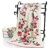 75x140cm Large Soft Cotton Bath Towel Peony Flower Bathroom Home Hotel Beach