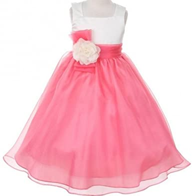 38bd740b1 Amazon.com: BNY Corner Flower Girl Dress Two-Tone Ivory Top Mix Organza:  Clothing