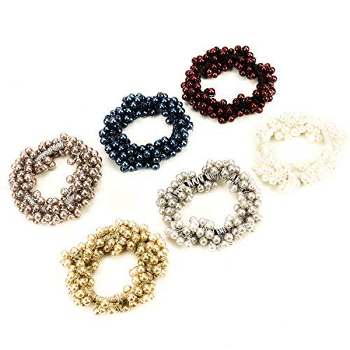 JETEHO Numblartd 6 pcs Elastic Bead Pearl Hair Band Hair Ties Hair Rope Ring Scrunchie Ponytail Holder Hair Accessories for Women