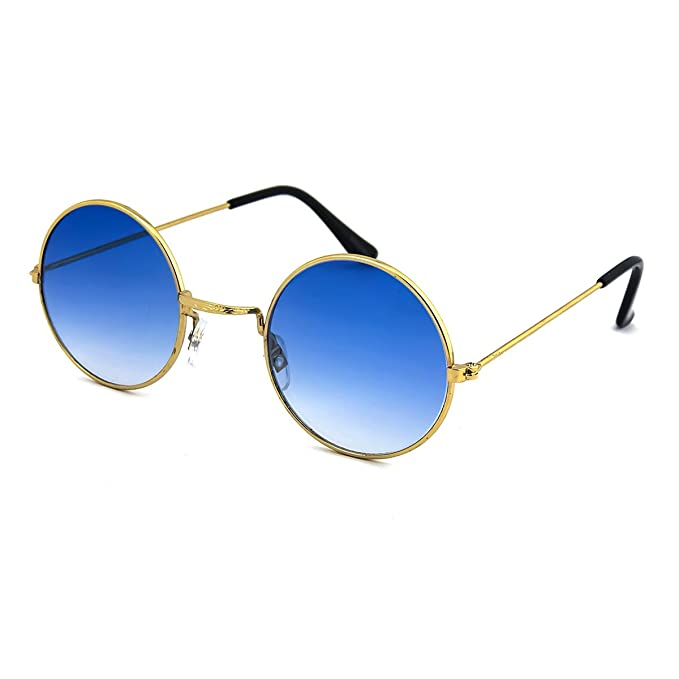 John Lennon Ha Ispirato Occhiali Da Sole Tondo Hippie Sfumature Retrò Colorate Lenti (Blu) LWqvmtu