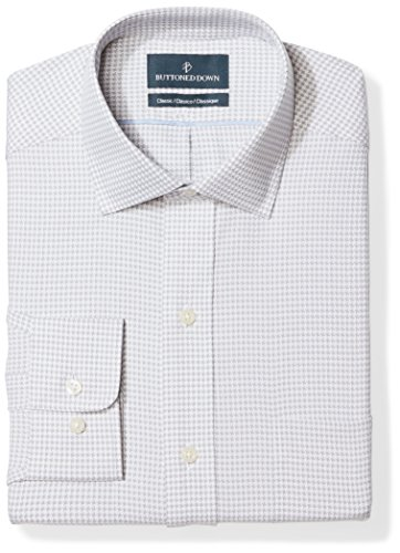 (BUTTONED DOWN Men's Classic Fit Spread Collar Pattern Non-Iron Dress Shirt, Grey Houndstooth, 16