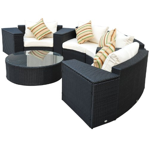 Gartenstühle rattan rund  Amazon.de: Outsunny Luxus 21 tlg. Polyrattan Gartenmöbelset rund ...