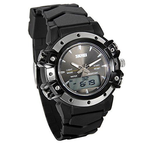 Lancardo 50M Water Resistan Analog-Digital 2 Timezone Teen Boy Metal Wrist Watch(Black) (Band Face Zone Black Metal)