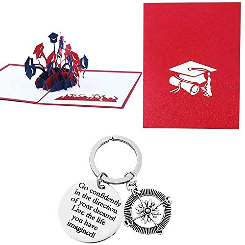 Inspirational Keychain Gift for Her/Him with Pop Up Greeting Card. Go Confidently in The Direction of Your Dreams. High School, College Graduation Gift idea for Women Men Friend Teens Son or Daughter