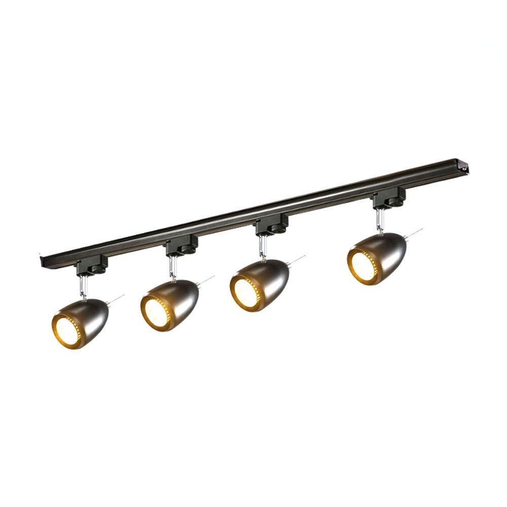 ZJⓇ Spotlight Track Light - Industrial Wind Corridor Light Track Lights - 4 Heads - 2 Colors (Black/White) && (Color : Black, Size : 9cm in Diameter)