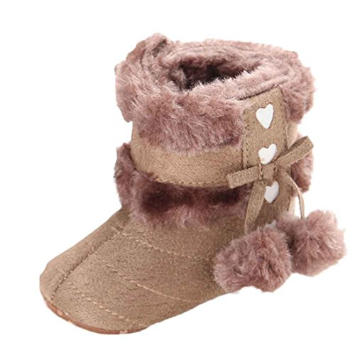 Voberry Baby Toddler Girls Knit Soft Winter Warm Snow Boot Fur Trimmed Pom Pom Boots (12~18 Month, Khaki 2)