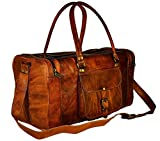 Divine vintage leather duffel bag square leather duffel bag leather bag (22 Inches, Brown)