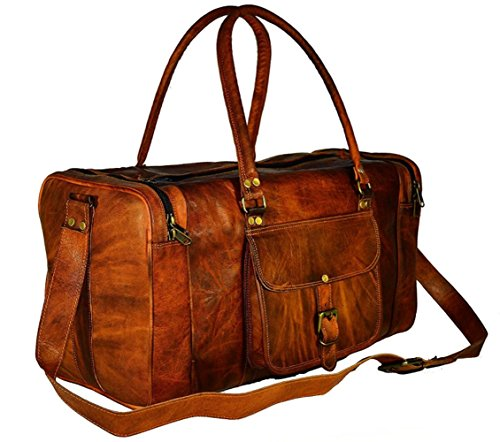 Divine vintage leather duffel bag square leather duffel bag leather bag (22 Inches, Brown) by Divine Leather