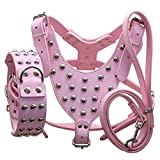 Benala Round Nails Studded Leather Dog Pet Harness Collar Leash Set for Dogs Pitbull Mastiff Boxer (Pink,M)