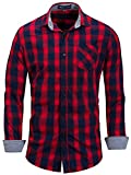 Neleus Men's Cotton Casual Plaid Long Sleeve Dress Shirt,158,Red,L,EU XL