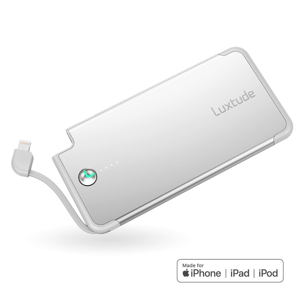 Luxtude PowerEasy 5000mAh Ultra Slim Power Bank for iPhone, Apple Certified Portable Charger with Built in Lightning Cable, Fast Charging External Battery Best Portable Charger
