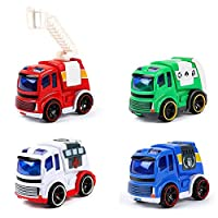 Deals on BeebeeRun Friction Power Toy Play Cars, Set of 4