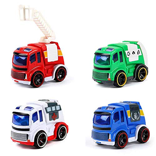Beebeerun Friction Power Toy Play Cars, Set of 4 Pieces Mini Push and Go Vehicles Toy Play Set for Age 3 4 5 6 7 Years and Up Boys and Girls as Gift