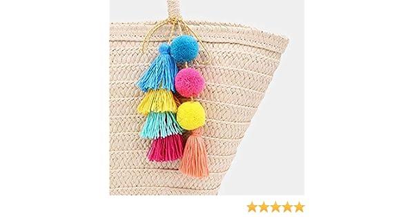Wuudi - Llavero de pompones de colores, con borlas de pompón colgante. Accesorios para decoración de monederos, bolsos, etc.