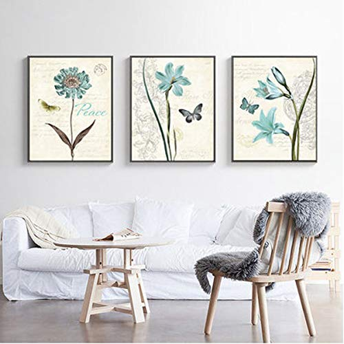 3-Piece Diamond Painting Full Drill Kits for Adults Large 47x18'' Triptych Painting with Diamonds for Home Wall Decors - Butterfly & Flower (120x45cm) (Wall Butterflies And Flowers Art)