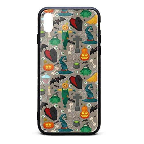Halloween Pumpkin Carving Wizard bat Gray Phone Case for iPhone Xs Max, Slim Protection Art Line Design Cell Phone Protective Case ()