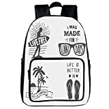 "iPrint Vogue Pressure Relief Spine Bag,Quote,Collection of Summer Themed Typography Artworks with Beach Sunglasses Palm Pattern,Black Grey,for Children,3D Print Design.15.7""x 11.8""x 6.3"""