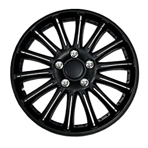 TuningPros WSC-007B15 Hubcaps Wheel Skin Cover 15-Inches Matte Black Set of 4