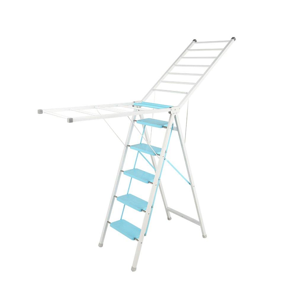 はしご乾燥ラック二重折りたたみバルコニー床乾燥ラック屋内翼型移動乾燥ラックホーム多機能衣類棚 ## (色 : 青, サイズ さいず : L l) B07L1HFRHZ 青 L l