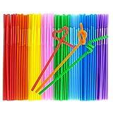 Tomnk 200PCS 10.3 Inch Disposable Flexible Drinking Straws Plastic Straws