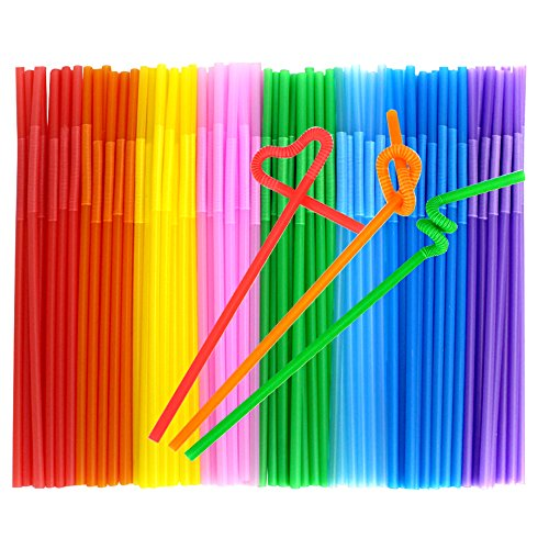 Tomnk 200PCS 10.3 Inch Disposable Flexible Drinking Straws Plastic Straws