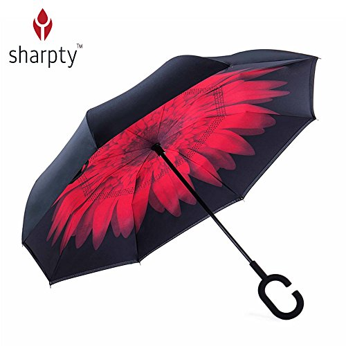 Inverted Umbrella, Best Windproof Umbrella, Cars Reverse Umbrella, Beautiful Rain Umbrella with UV Protection, Upside Down Umbrella With C-Shaped Handle and Carrying Bag