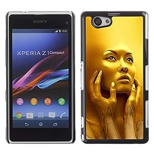 For Sony Xperia Z1 Compact / Z1 Mini / D5503 Case , Face Young Woman Fashion Bling - Diseño Patrón Teléfono Caso Cubierta Case Bumper Duro Protección Case Cover Funda